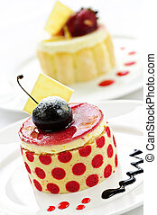 Desserts - Fancy gourmet desserts isolated on white...