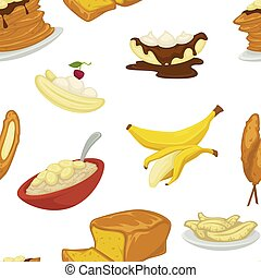 Desserts types banana and bread bakery pattern vector
