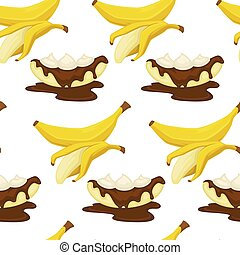Desserts types, banana with peel and bread bakery seamless pattern vector.
