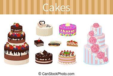 desserts, vecteur, divers, délicieux, illustration