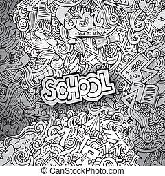 dessiné, école, croquis, fond, main