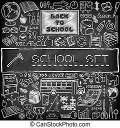 dessiné, école, ensemble, main, icônes