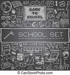 dessiné, école, main, icônes