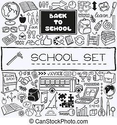 dessiné, école, main, set., icônes
