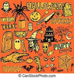 dessiné, éléments, halloween, main, griffonnage