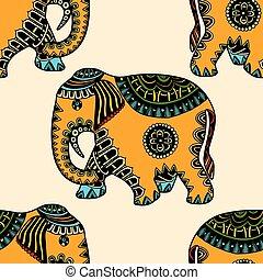dessiné, éléphant, main, ethnique
