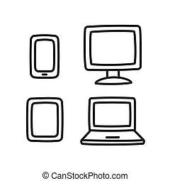 dessiné, électronique, ensemble, main, icône