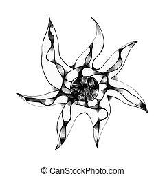 dessiné, étoile, main