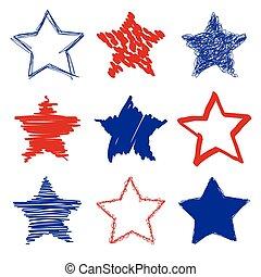 dessiné, étoiles, main