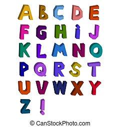 dessiné, 3d, main, alphabet