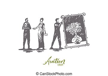 dessiné, achat, isolé, vente, main, enchère, femme, image, concept., vector.