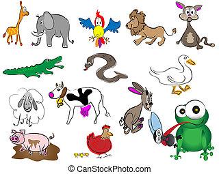 dessiné, adorable, animaux, dessin animé, main