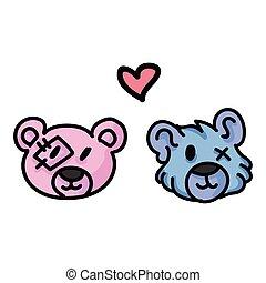 dessiné, amour, relation, headshot, 10., eps, color., coeur...
