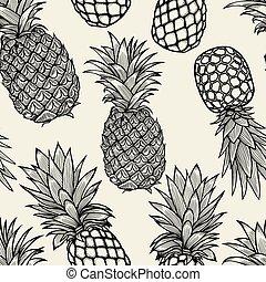 dessiné, ananas, sketch., main