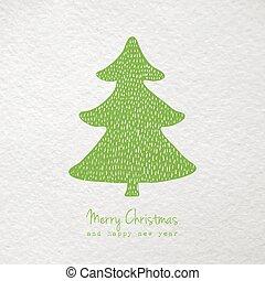 dessiné, arbre, noël carte, main