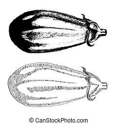 dessiné, aubergine, main