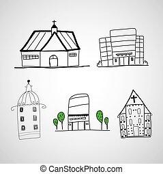 dessiné, bâtiments, main