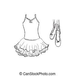 dessiné, ballet, tutu, chaussures, main