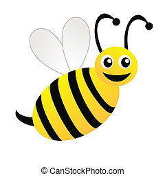 dessiné, blanc, amuser, fond, abeille