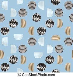 dessiné, brun, bleu, arrière-plan., géométrique, tonalités, simple, pattern., dépouillé, beige, main, figures, cercles