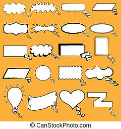 dessiné, bulles, parole, main