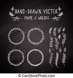 dessiné, cadre, couronne, main