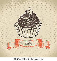 dessiné, cake., illustration, main