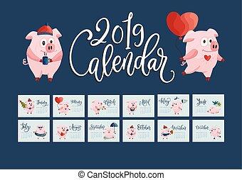 dessiné, calendrier, vecteur, 2019., main