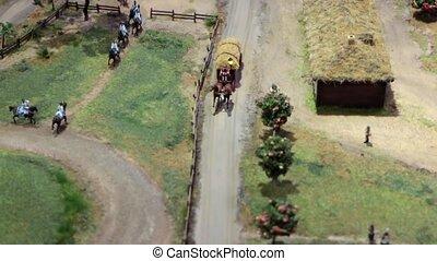 dessiné, chariot cheval, foin