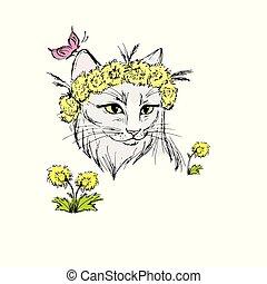 dessiné, chat, fleurs
