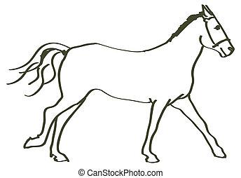 dessiné, cheval, main