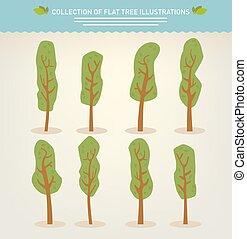 dessiné, collection, arbres, main