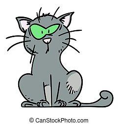 dessiné, confondu, main, dessin animé, chat