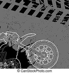 dessiné, contour, motocyclette
