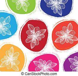 dessiné, couleurs, fleurs