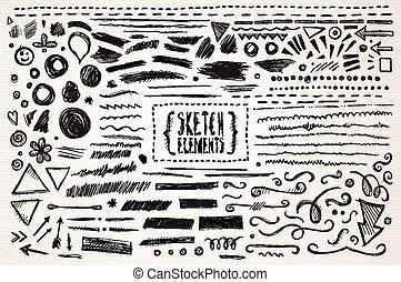 dessiné, croquis, éléments, main