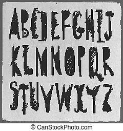 dessiné, croquis, alphabet., main