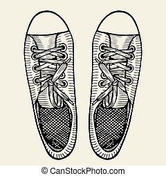 dessiné, croquis, chaussures sport, main