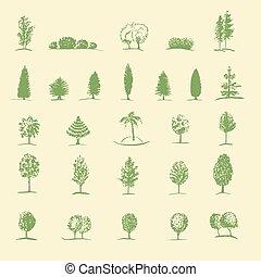 dessiné, croquis, ensemble, arbres, main