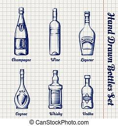 dessiné, croquis, ensemble, bouteilles, main
