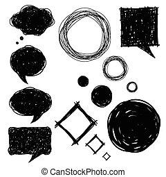dessiné, croquis, ensemble, bulles, main