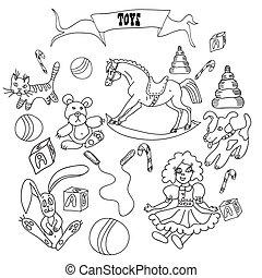 dessiné, croquis, ensemble, jouets, main
