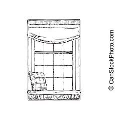 dessiné, croquis, fenêtre., illustration, main