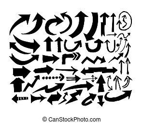dessiné, croquis, flèche, collection, main