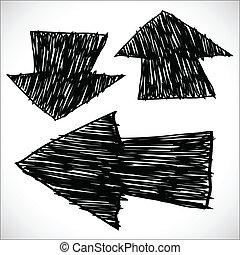 dessiné, croquis, flèches, illustration, main