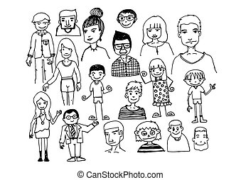 dessiné, croquis, main, stylo, gens