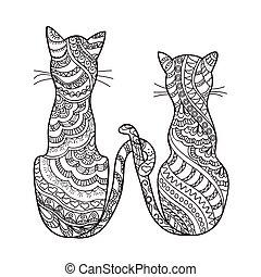 dessiné, décoré, chats, dessin animé, main