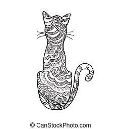 dessiné, décoré, main, dessin animé, chat