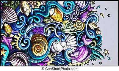dessiné, détaillé, mer, main, griffonnage, vie, flyer., dessin animé, banner.