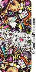 dessiné, dessin animé, artiste, main, illustrations., banner., détaillé, griffonnage